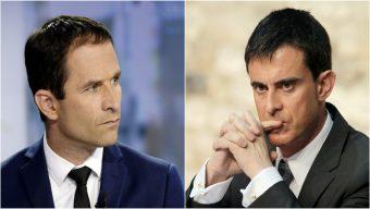 Benoît Hamon arrive devant Manuel Valls