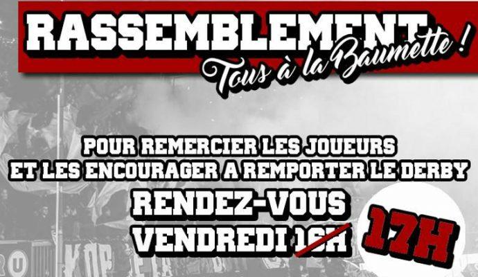 Les supporters du SCO à la Baumette pour soutenir les joueurs avant le derby face à Nantes