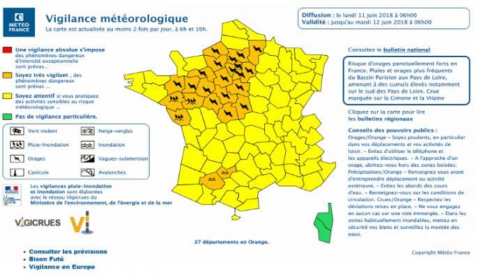 Le Maine-et-Loire placé en vigilance orange pour un risque d'orages et d'inondations