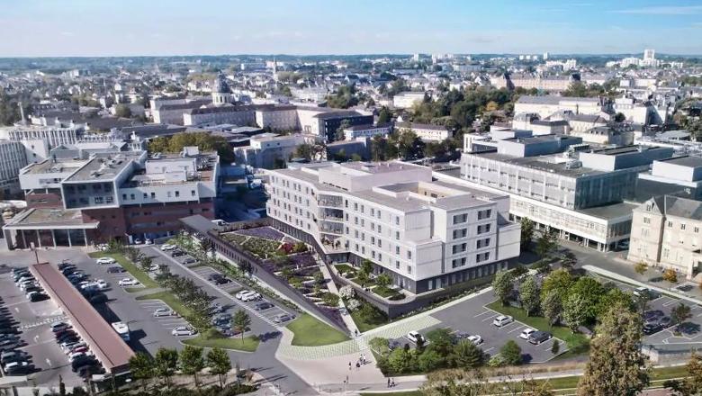 Esquisse du futur bâtiment réunissant les services gériatrie et soins de suite